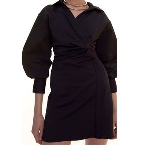 Zara suede and satin black dress